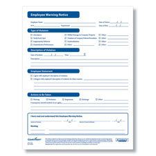 Employee Warning Form- Printable PDF
