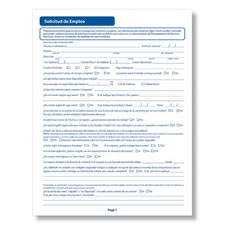 Spanish Employment Application - Printable PDF