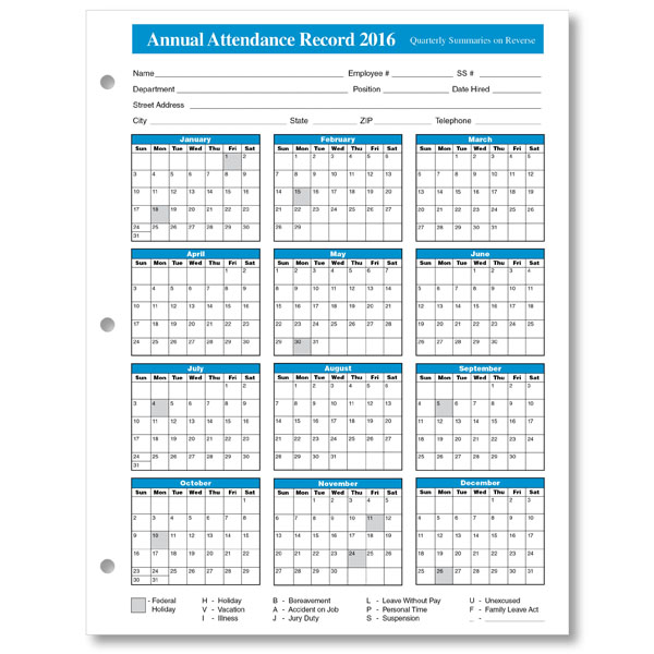 Year At A Glance 2016 Attendance Calendar | Search Results | Calendar ...