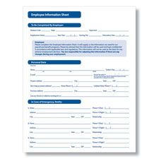 Employee Information Sheet - Printable PDF