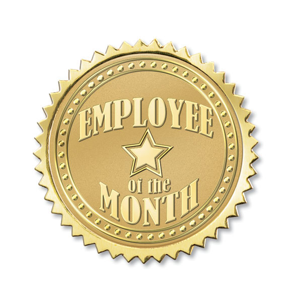 Employee of the Month Foil Seals | Gold Foil Seals Recognize Employee ...