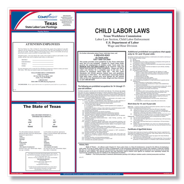 Texas State Labor Law Poster