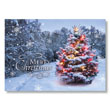 Snowy Tree Aglow Holiday Card