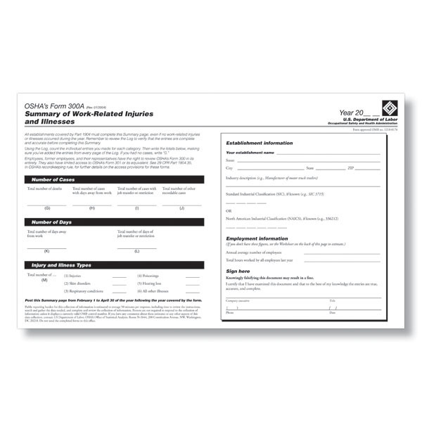 OSHA Form 300A - Fill &amp; Save PDF
